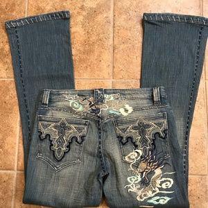Vintage Antik Embroidered Dragon Jeans - 30